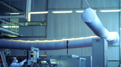 Air duct work in industrial premises. Air duct system at Industrial workshop - stock footage