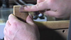 Master luthier guitars at work Stock Footage