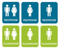 6 isolated signs - 3 for restroom and 3 for cloakroom - stock illustration