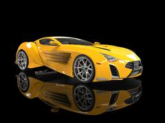 Yellow concept supercar on black reflective background - stock illustration