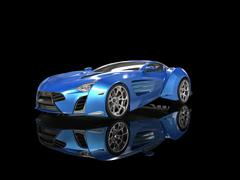 Blue metallic supercar on black reflective background Stock Illustration