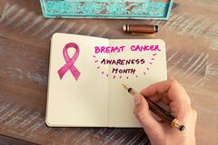 Pink ribbon as breast cancer awareness month sign - stock photo