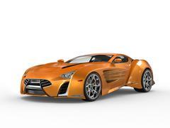 Orange metallic supercar - studio shot Stock Illustration