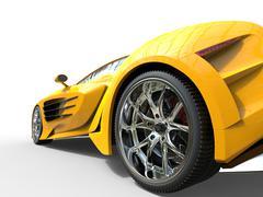 Yellow supercar - wheel closeup Stock Illustration
