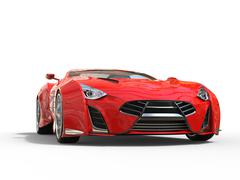 Red supercar - studio shot - front view - stock illustration