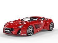Red concept supercar - studio shot - stock illustration