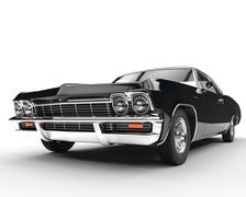 Classic muscle black car - front view closeup Stock Illustration