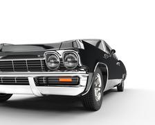 Muscle car - front view extreme closeup Stock Illustration