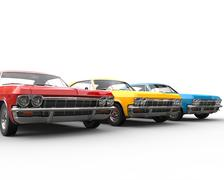 Row of classic muscle cars - studio shot - stock illustration