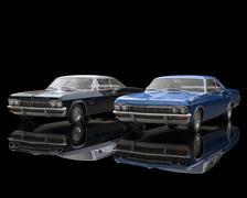Black and blue classic muscle cars on reflective black background Stock Illustration