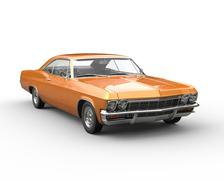 Orange muscle car - front view closeup - stock illustration