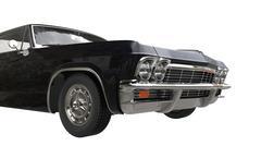 Black muscle car - front wheel cut shot - stock illustration