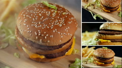 Hot Burger and Fries, Montage Stock Footage