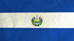 Salvadoran flag waving in the wind (full frame footage) - stock footage