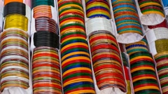Beautiful bangles in a street shop in Dhaka, Bangladesh - stock footage