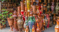 Beautiful handmade clay pots in a road-side shop in dhaka, Bangladesh Stock Footage
