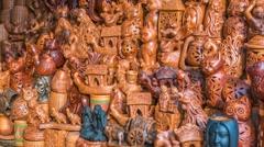 Beautiful handmade clay pots in a road-side shop in dhaka, Bangladesh Stock Footage