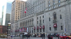 Front Street with view of Fairmont Royal York Hotel Stock Footage