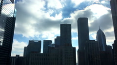 Silhouette of Chicago Skyline with Two Prudential Plaza 4k Stock Footage