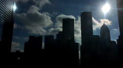 Bright sunshine with silhouette of Chicago buildings 4k Stock Footage