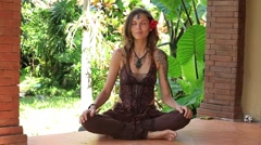 Girl portrait during yoga at exotic surrounding, island Bali, Indonesia Stock Footage