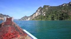 Boat travel in lake at Khao Sok National Park, Surat Thani, Thailand Stock Footage