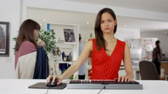 4K Creative professional woman working at computer, as seen from screen's pov Stock Footage
