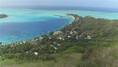 AERIAL: Beautiful Bora Bora island with luxury hotels and resorts Stock Footage