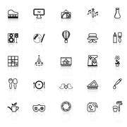 Art activity line icons with reflect on white background - stock illustration