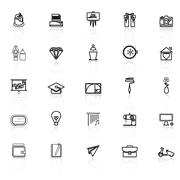 Art and creation line icons with reflect on white background - stock illustration