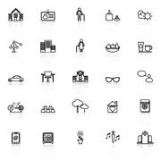 Retirement community line icons with reflect on white Stock Illustration