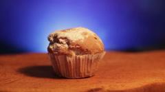 Muffin cake powdered sugar Stock Footage