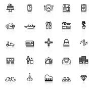 Birthday gift line icons with reflect on white Stock Illustration