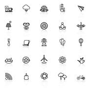 Clean concept line icons with reflect on white Stock Illustration