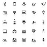 Job description line icons with reflect on white - stock illustration