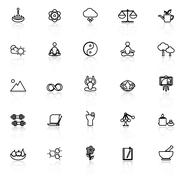 Zen concept line icons with reflect on white Stock Illustration