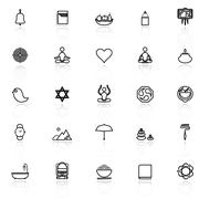 Zen society line icons with reflect on white - stock illustration