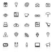 Internet website line icons with reflect on white - stock illustration