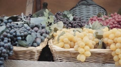Organic grapes for sale Stock Footage