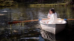 Peaceful trip in lake Stock Footage