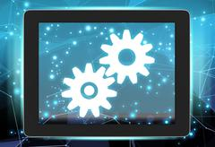 Tablet with gears on abstract background communications network Stock Illustration