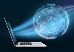 Laptop with digital globe against dark background. The absorption of planet Stock Illustration