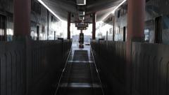 Amtrak metrolink train doors close Union Station terminal - stock footage