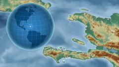 Haiti and Globe. Relief Stock Footage