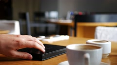 Male hand paying bill in cafe with creadit card Stock Footage