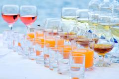 Drinks on the banquet table - stock photo