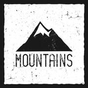 Hand drawn mountain poster. Wilderness old style typography label. Letterpress Stock Illustration