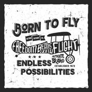 Vintage airplane lettering for printing. Vector prints, old school aircraft - stock illustration