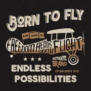 Stock Illustration of Vintage airplane lettering for printing. Vector prints, old school aircraft