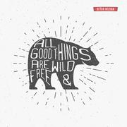 Vintage bear with hand drawn lettering slogan. Retro monochrome animal design - stock illustration
